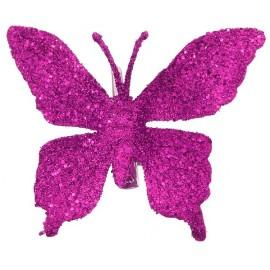Papillons Fuchsia pailleté sur pince les 4
