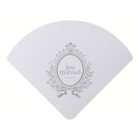 Eventail Just Married Blanc carte mariage 23 cm les 6