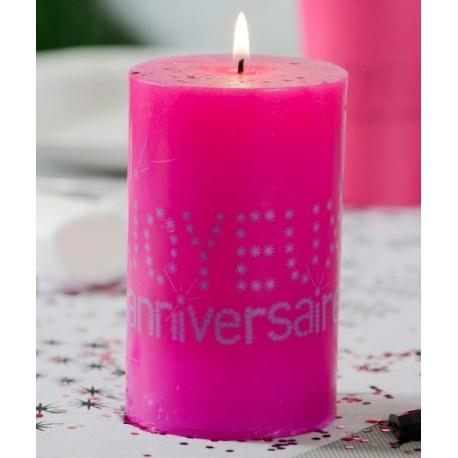 Bougie anniversaire joyeux anniversaire Fuchsia 11 cm