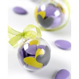 Boules transparentes coeur vert anis coeur gris 5 cm les 4
