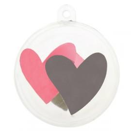 Boules transparentes coeur rose coeur gris 5 cm les 4