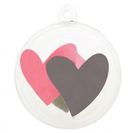 Boule transparente coeur rose coeur gris 5 cm les 4