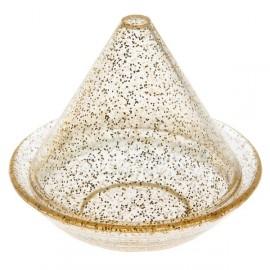 Boîte à dragées tagine transparente pailletée or les 4