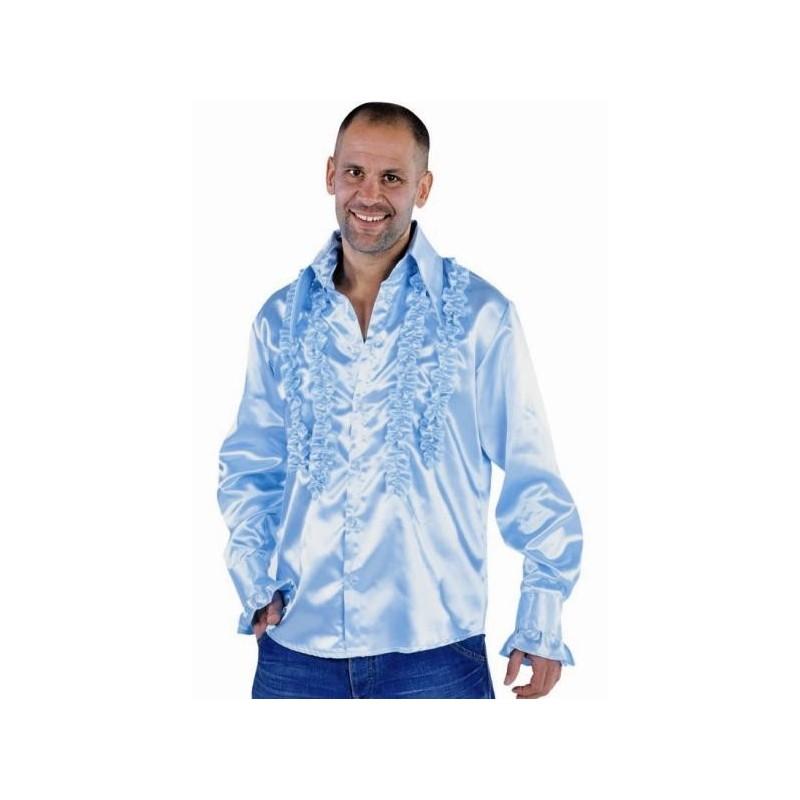 d guisement chemise disco bleu ciel homme luxe d guisement disco. Black Bedroom Furniture Sets. Home Design Ideas