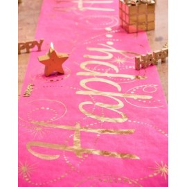 Chemin de table Happy fuchsia or intissé 5 M