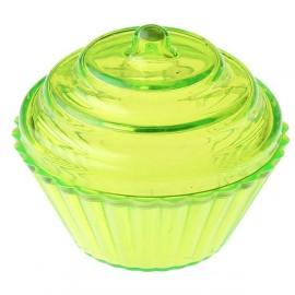 Boîte à dragées cupcake vert anis transparent 5 cm les 4