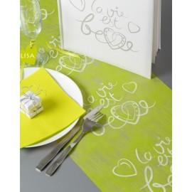 Chemin de table la vie est belle intissé 5 M en 3 couleurs