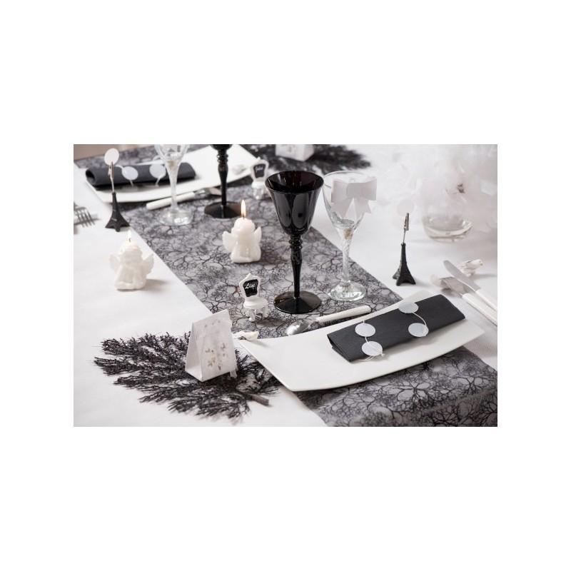 Chemin de table v g tal noir organdi 5 m - Chemin de table plastique ...