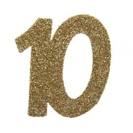 Confettis anniversaire 10 ans or pailleté les 6