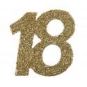 Confettis anniversaire 18 ans or pailleté les 6