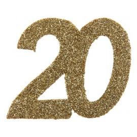 Confettis anniversaire 20 ans or pailleté les 6
