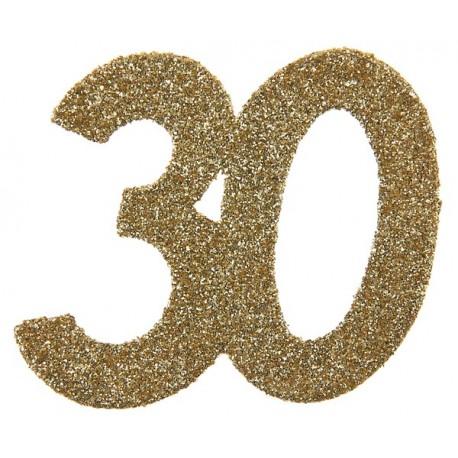 Confettis anniversaire 30 ans or pailleté les 6