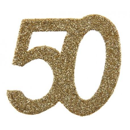 Confettis anniversaire 50 ans or pailleté les 6