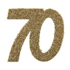 Confettis anniversaire 70 ans or pailleté les 6
