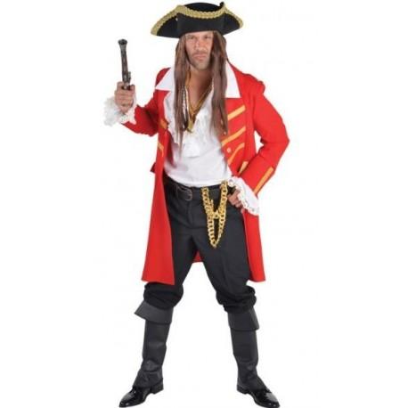 Déguisement manteau pirate rouge homme luxe