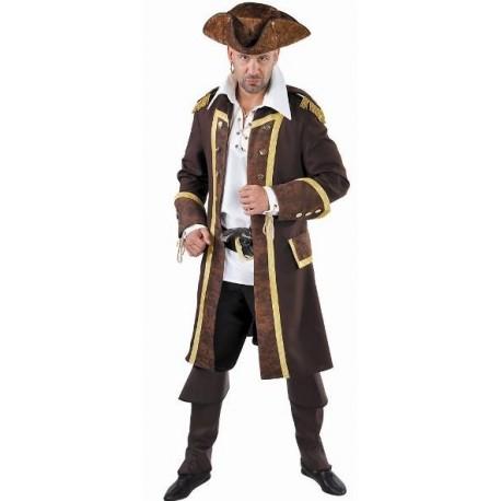 Déguisement manteau pirate brun homme