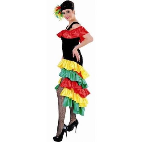 Déguisement Brésilienne femme luxe noir jaune vert rouge