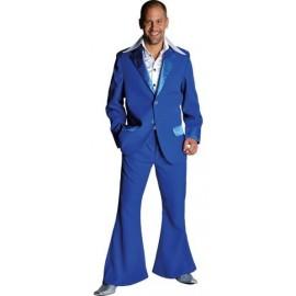 Déguisement disco bleu cobalt homme 70's luxe