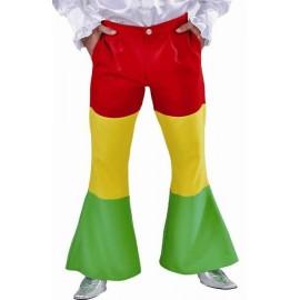 Déguisement pantalon hippie rouge jaune vert homme luxe