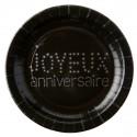 Assiettes Joyeux Anniversaire Carton Noir Argent Chic 23 cm les 10