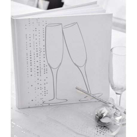 Livre d'or champagne blanc argent chic