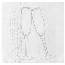 Serviettes de table champagne argent papier blanc x20