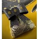 Sachets à dragées nid d'abeille or tissu 10 cm les 6
