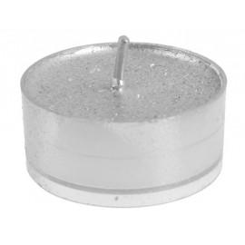 Bougies chauffe plat argent pailleté 3.5 cm les 40