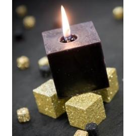 Bougies carrées noires 5 cm les 5