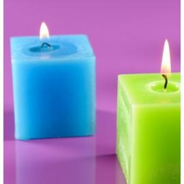 Bougie carrée turquoise 5 cm les 5
