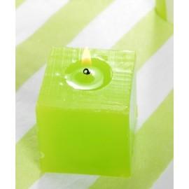 Bougies carrées vert anis 5 cm les 5