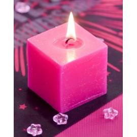 Bougies carrées fuchsia 5 cm les 5