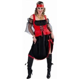Déguisement pirate femme noir rouge luxe