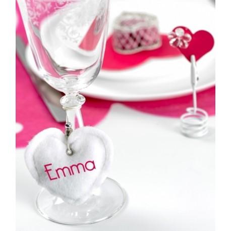 Coeur blanc décoratif fausse fourrure 7.5 cm les 2