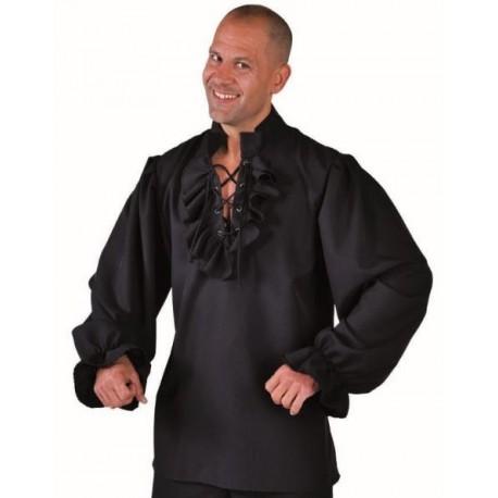 Déguisement chemise pirate noire homme luxe
