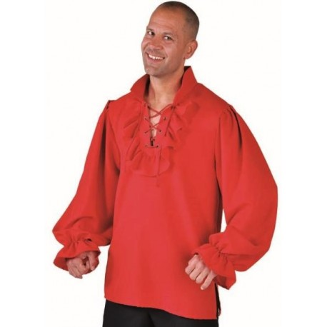 Déguisement chemise pirate rouge homme luxe