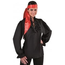 Déguisement chemise pirate noire femme luxe