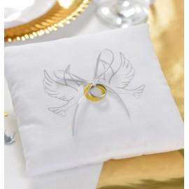 Coussin alliances Colombes coton blanc et noeud ruban