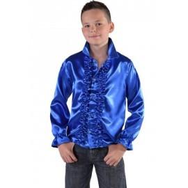 Déguisement chemise disco bleu cobalt enfant