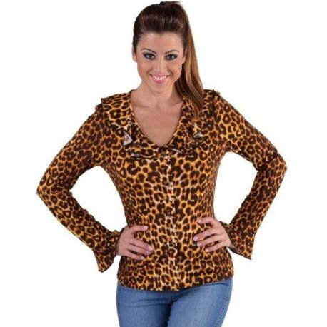 Blouse léopard volantée femme deluxe
