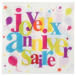 Serviettes de table joyeux anniversaire festif papier les 20