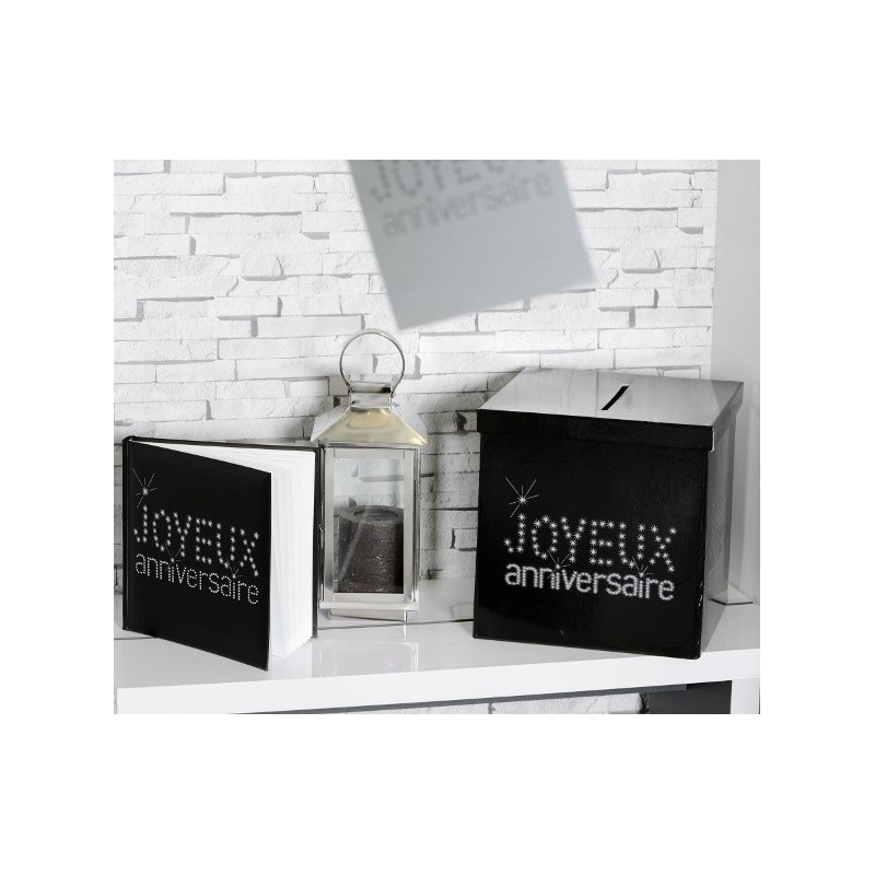 livre d 39 or joyeux anniversaire noir paillet blanc d co anniversaire. Black Bedroom Furniture Sets. Home Design Ideas
