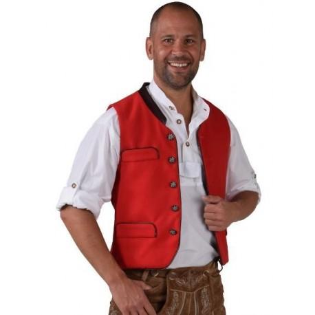 Déguisement Gilet Tyrolien rouge homme luxe