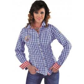 Déguisement chemise Edelweiss vichy bleu femme luxe