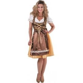 Déguisement bavaroise Dirndl femme or brun luxe
