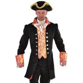Déguisement marquis manteau noir rouge homme luxe