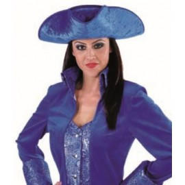Chapeau tricorne bleu cobalt adulte luxe