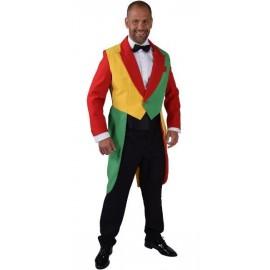 Déguisement queue de pie rouge jaune vert homme luxe