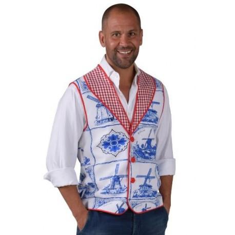 Déguisement Hollandais gilet Bleu de Delft homme luxe