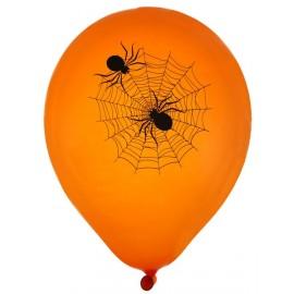 Ballons Halloween araignée orange noir 23 cm les 8